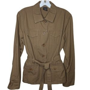 French Cuff Cotton Belted Jacket Brown